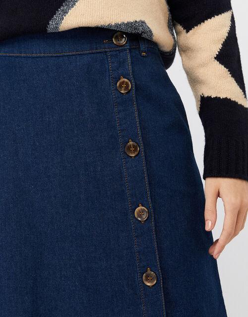 Maya Midi Denim Skirt, Denim Blue, large