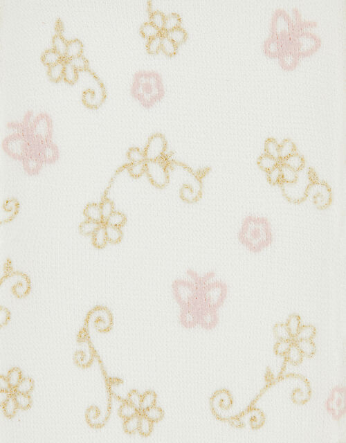 Butterfly Flower Perlato Tights, Ivory (IVORY), large