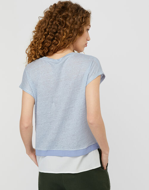 Wallace T-Shirt in Pure Linen, Blue (BLUE), large