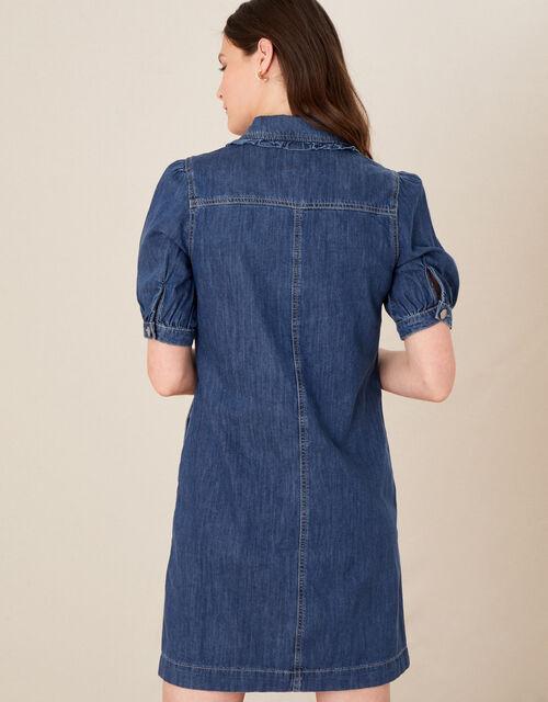 Ruffle Collar Denim Dress, Blue (DENIM BLUE), large