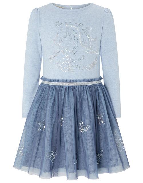 Helena Unicorn Disco Dress, Blue (PALE BLUE), large