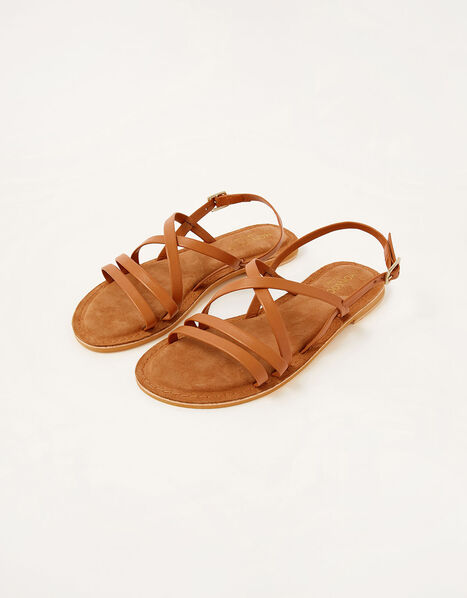 Cross-Over Leather Sandals Tan, Tan (TAN), large