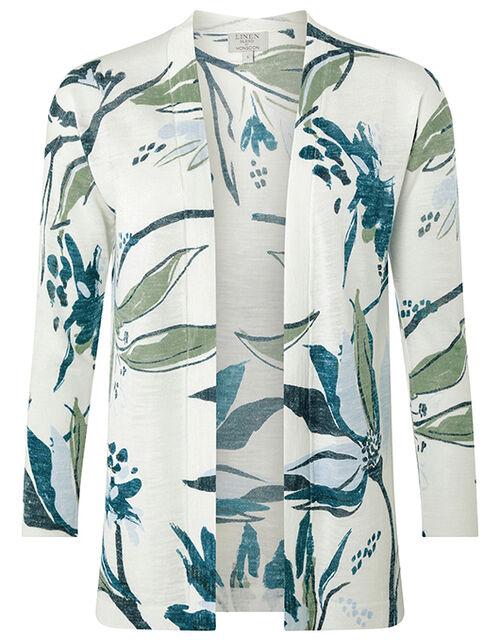 Tilda Printed Knit Cardigan in Linen Blend, Ivory (IVORY), large
