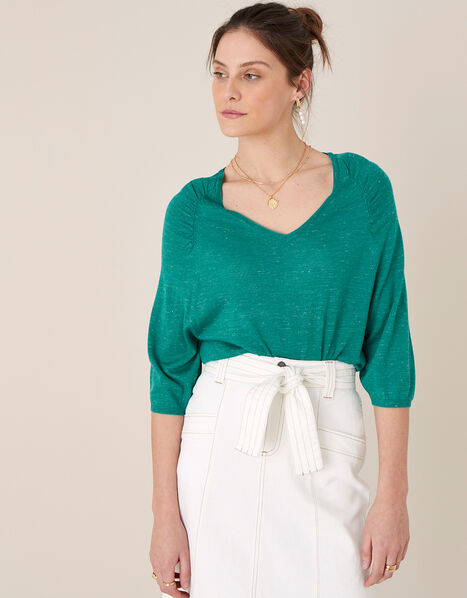 Gathered Sleeve Jumper in Linen Blend Teal, Teal (TEAL), large