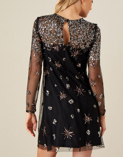 Kate Sequin Starburst Dress, Black (BLACK), large