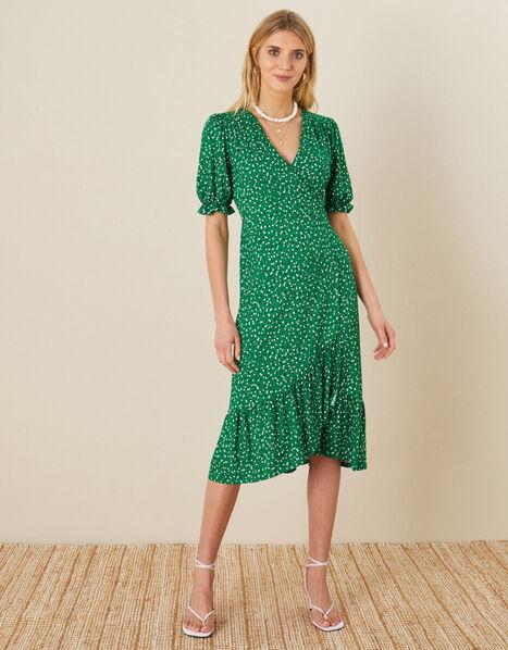 Britt Spot Print Jersey Wrap Dress Green, Green (GREEN), large