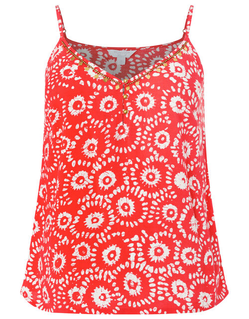 Anouk Printed Cami Top in LENZING™ ECOVERO™, Orange (CORAL), large