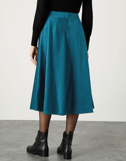 Cord Circle Midi Skirt , Teal (TEAL), large