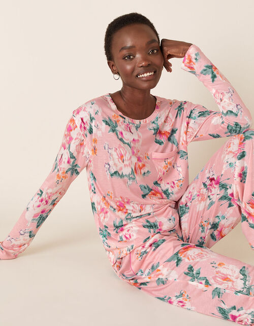 Floral Print Pyjama Set, Pink (PINK), large
