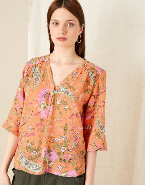 Paisley Print Top in Linen Blend Orange, Orange (CORAL), large