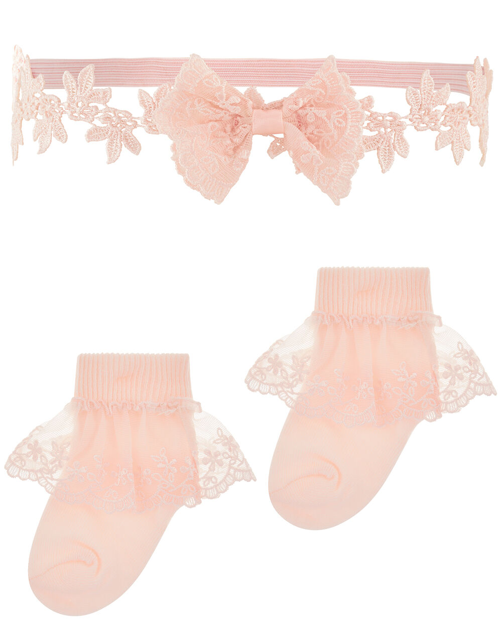Baby Lacey Butterfly Sock and Bando Set, Pink (PINK), large