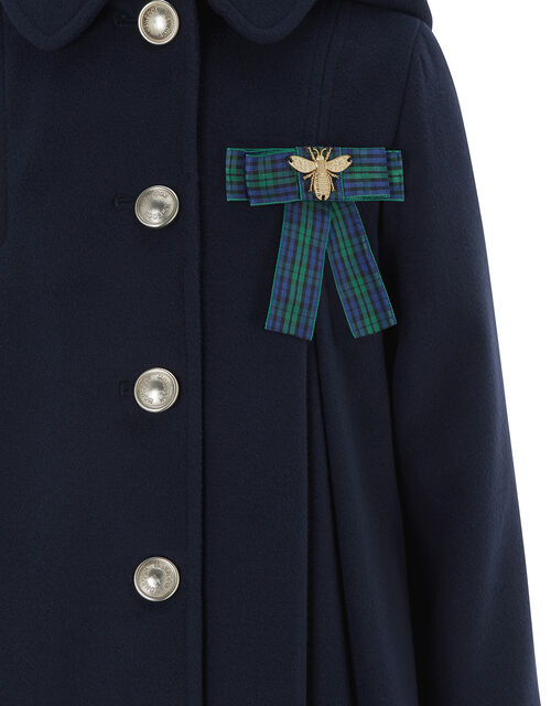 Navy Swing Coat with Bee Brooch, Blue (NAVY), large