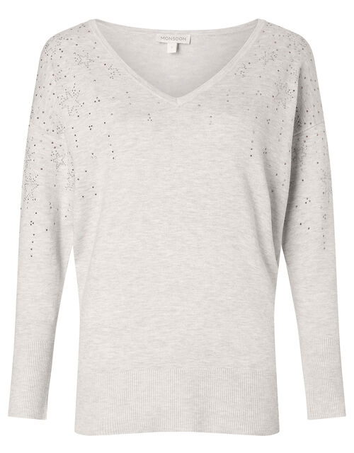 Star Heat-Seal Gem Jumper with LENZING™ ECOVERO™, Grey (GREY MARL), large