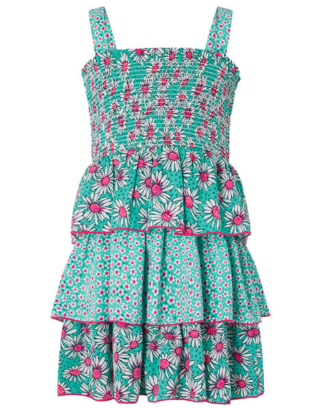 Daisy Print Tiered Dress Green, Green (GREEN), large