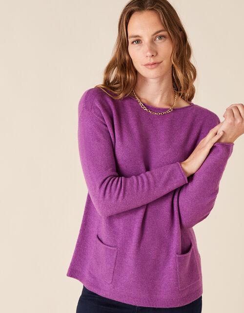 Pocket Detail Knit Jumper, Purple (PURPLE), large