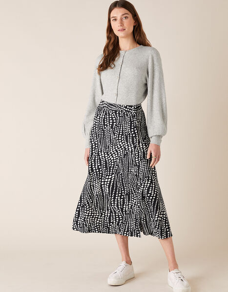 Monochrome Spot Midi Skirt Black, Black (BLACK), large