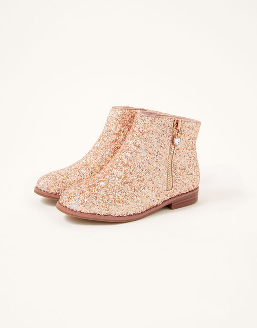 Side Zip Glitter Boots, Gold (ROSE GOLD), large