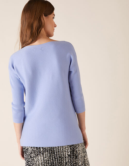 Ottoman Slash Neck Jumper, Blue (BLUE), large