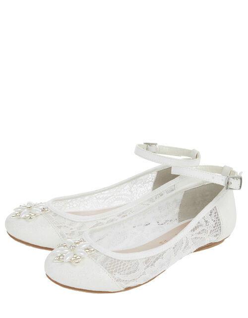 Melody Flower and Lace Ballerina Shoes, Ivory (IVORY), large