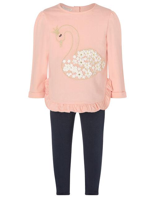 Baby Swan Sweatshirt and Leggings Set, Pink (PINK), large