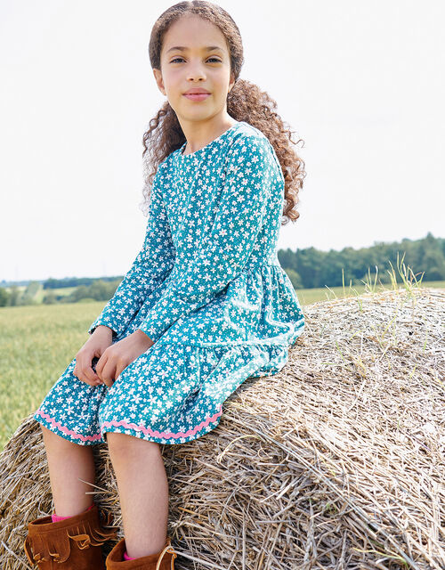 Floral Long Sleeve Jersey Dress, Green (GREEN), large