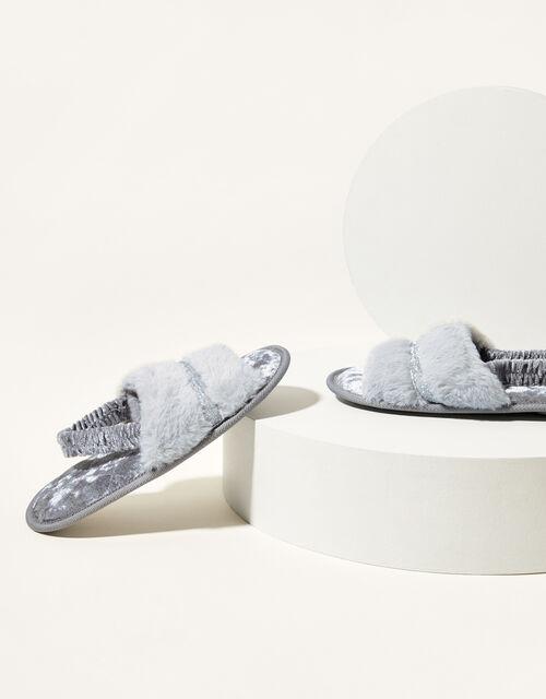 Glitter Trim Faux Fur Back Strap Slippers, Grey (GREY), large