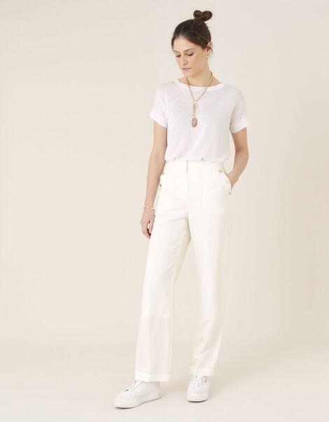 Smart Shorter Length Trousers in Linen Blend White, White (WHITE), large