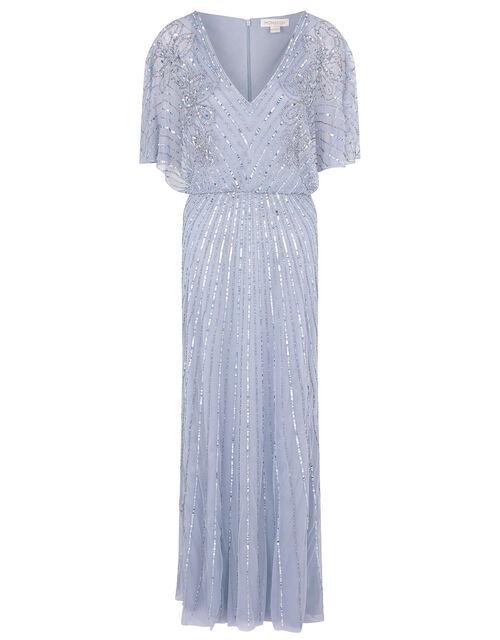 Holly Floral Embellished Maxi Dress, Blue (BLUE), large