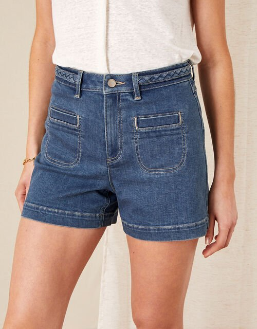 Lucille Denim Shorts with Recycled Fabric, Blue (DENIM BLUE), large