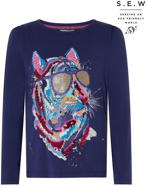 Tamara Sequin Tiger Top with Sustainable Viscose, Blue (NAVY), large