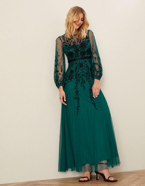 Jane Floral Embellished Maxi Dress, Teal (TEAL), large