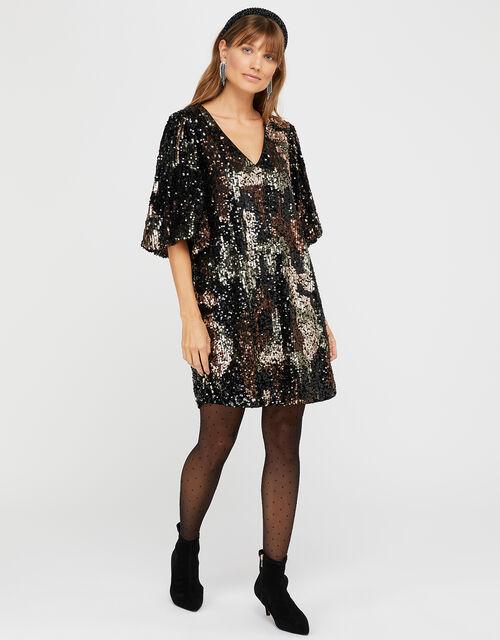 Carmen Camo Sequin Short Dress, Black, large