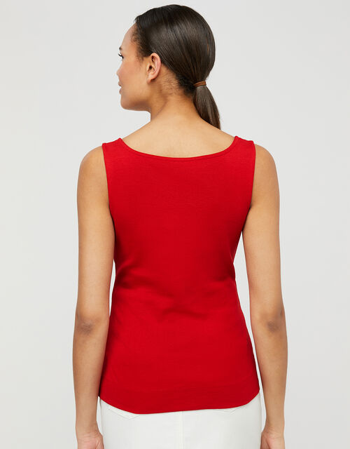 Bridey Square Neck Jersey Vest, Red (RED), large