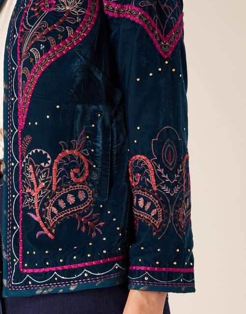 Embroidered Velvet Jacket, Teal (TEAL), large