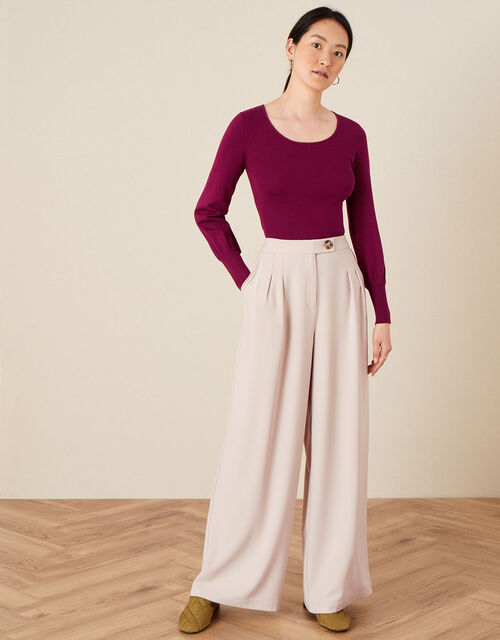Scoop Neck Jumper, Red (BERRY), large