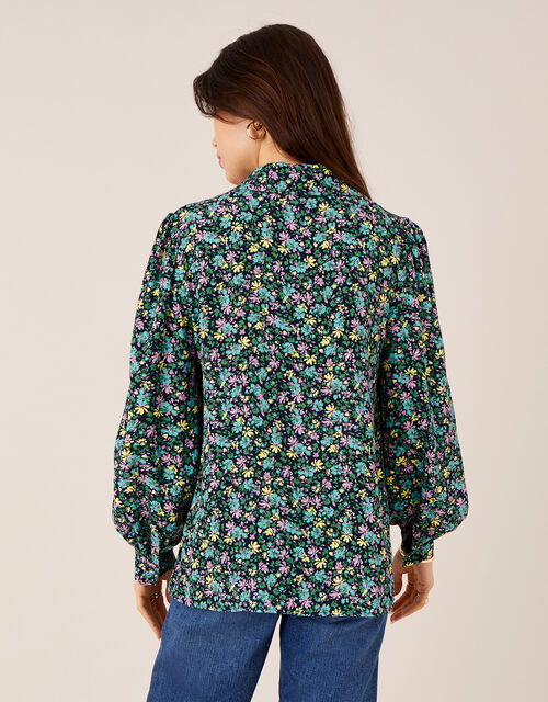 Ditsy Floral Print Collar Top, Blue (NAVY), large