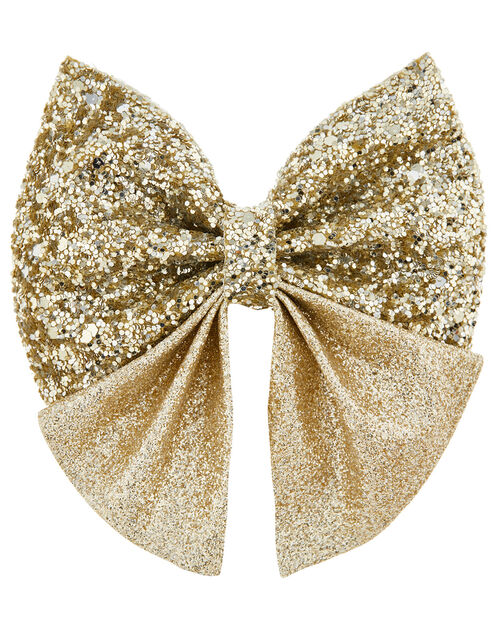 Grace Glitter Large Bow Hair Clip, , large