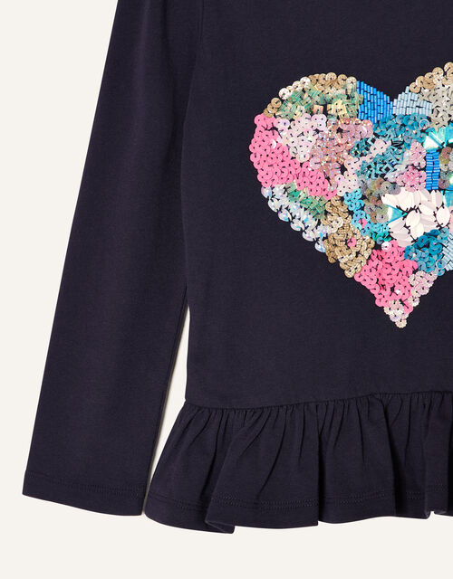 Embellished Heart Long Sleeve Top , Blue (NAVY), large