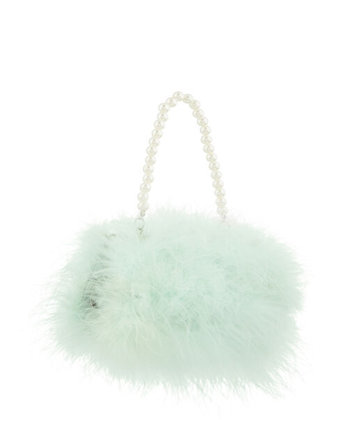 Fluffy Feather and Pearl Bag, , large