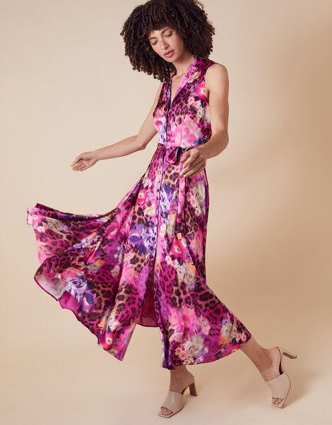 Crystal Animal Sleeveless Satin Dress Pink, Pink (PINK), large