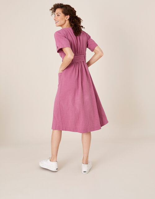 Crosshatch Midi Dress in Pure Cotton, Pink (PINK), large