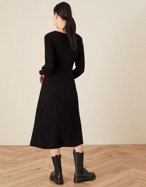 Square Neck Pleated Dress, Black (BLACK), large