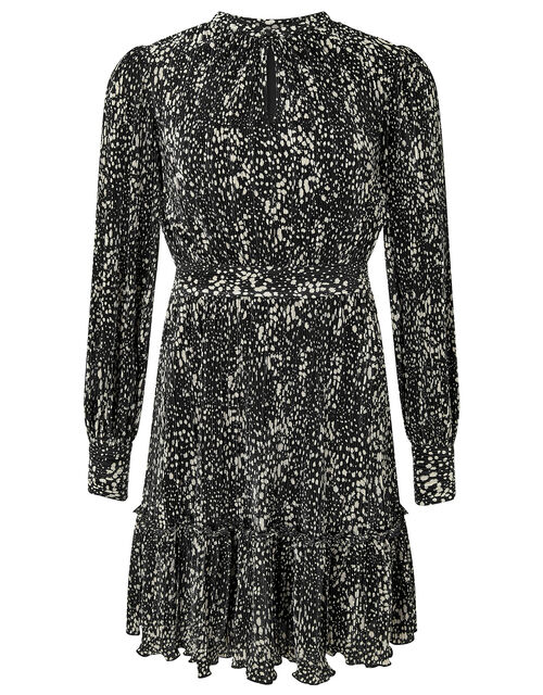 Printed Jersey Plisse Tiered Short Dress, Black (BLACK), large