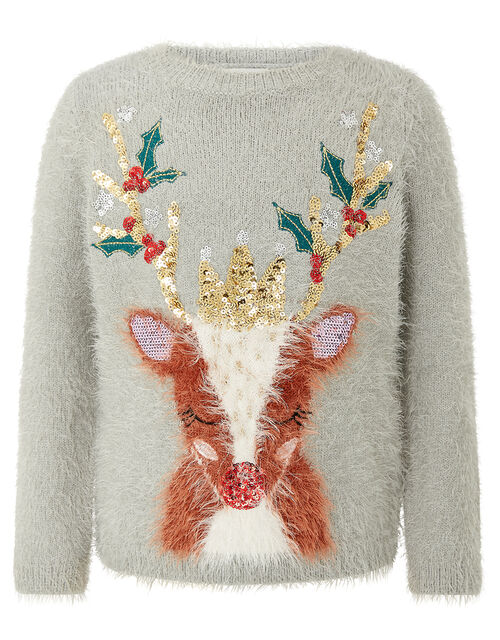 XMAS Sequin Reindeer Fluffy Knit Jumper, Grey (GREY), large