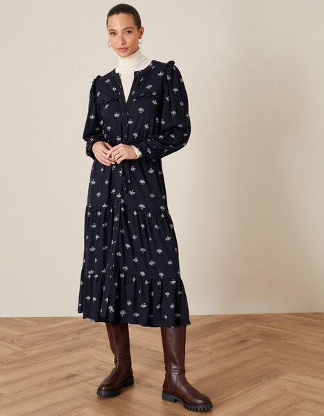 Printed Drawstring Jersey Dress Blue, Blue (NAVY), large
