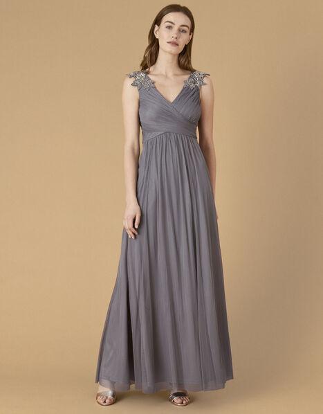 Mischa Embellished Tulle Maxi Dress Grey, Grey (GREY), large