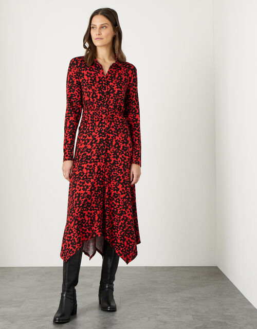 Floral Print Hanky Hem Shirt Dress, Black (BLACK), large