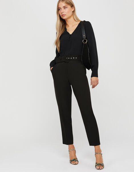 Erica Tapered Leg Trousers Black, Black (BLACK), large