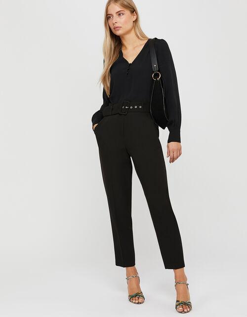 Erica Tapered Leg Trousers, Black (BLACK), large