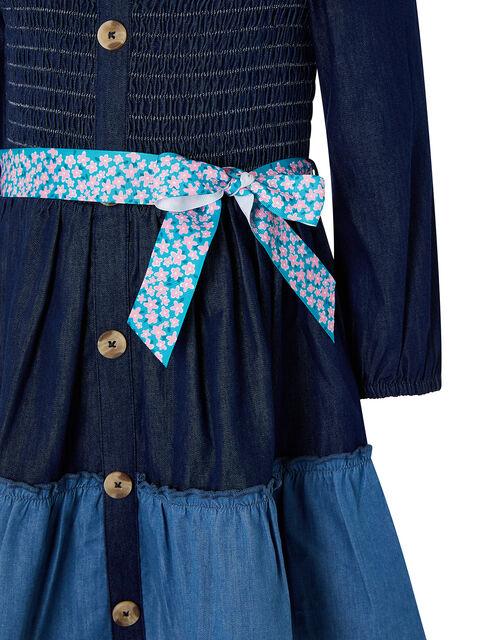 Shirred Denim Dress, Blue (BLUE), large